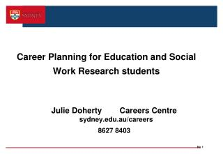 Career Planning for Education and Social  Work Research students