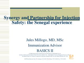 Synergy and Partnership for Injection Safety: the Senegal experience