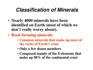 Classification of Minerals