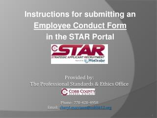 Instructions for submitting an Employee Conduct Form in the STAR Portal