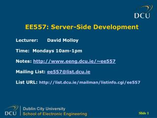 EE557: Server-Side Development
