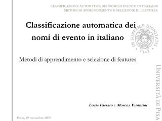 Classificazione automatica dei  nomi di evento in italiano