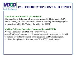 CAREER EDUCATION CONSUMER REPORT