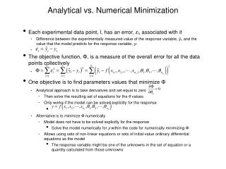 Analytical vs. Numerical Minimization