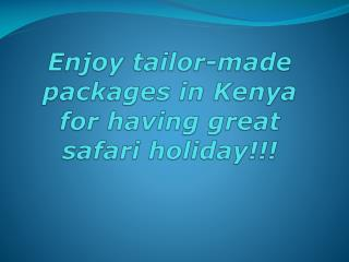 Enjoy tailor-made packages in Kenya for having great safari