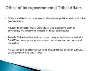 Office  of Intergovernmental  Tribal  Affairs