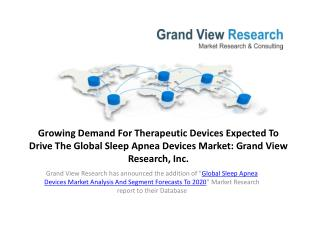 Sleep Apnea Devices Market Analysis To 2020