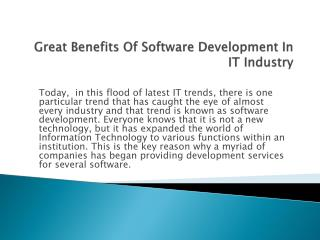 Great Benefits Of Software Development In IT Industry
