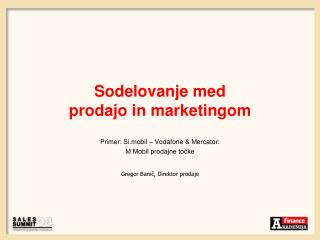 Sodelovanje med  prodajo in marketingom