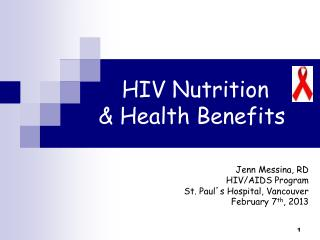 HIV Nutrition & Health Benefits
