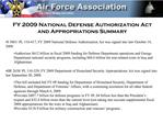 FY 2009 National Defense Authorization Act and Appropriations Summary