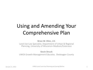 Using and Amending Your Comprehensive Plan