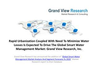 Smart Water Management (SWM) Market  Share To 2020.