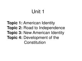 Topic 1: American Citizenship Civics 	A. Study of the rights and duties of citizens