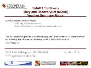 MDRN Voucher  Summary Report 	Searching for Authorizations