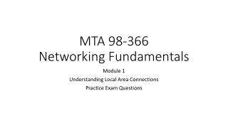 MTA 98-366 Networking Fundamentals