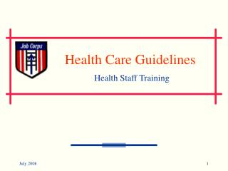 Health Care Guidelines Health Staff Training