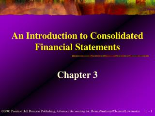 An Introduction to Consolidated Financial Statements