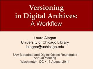 Versioning  in Digital Archives: A Workflow