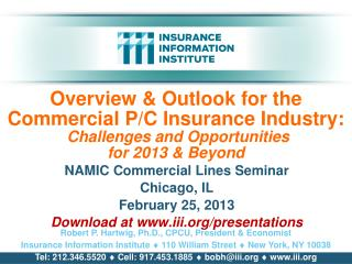 NAMIC Commercial Lines Seminar Chicago, IL February 25, 2013 Download at iii/presentations