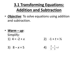 3.1 Transforming Equations: Addition and Subtraction