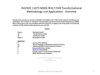 ISO/IEEE 11073 MDDL HL7 FHIR Transformational Methodology and Applications - Overview