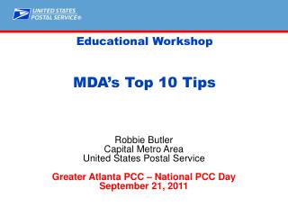 Educational Workshop MDA's Top 10 Tips