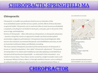 Chiropractic Springfield Ma