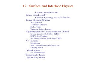 17.  Surface and Interface Physics