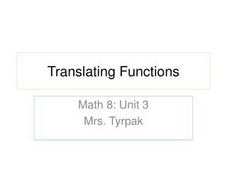 Translating Functions