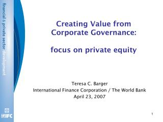 Creating Value from Corporate Governance: focus on private equity