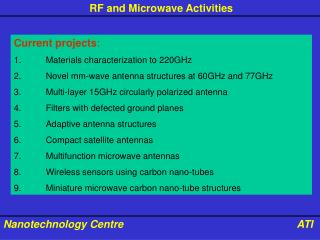 Current projects : 1.	Materials characterization to 220GHz