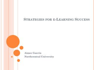 Strategies for e-Learning Success