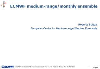 Roberto Buizza European Centre for Medium-range Weather Forecasts
