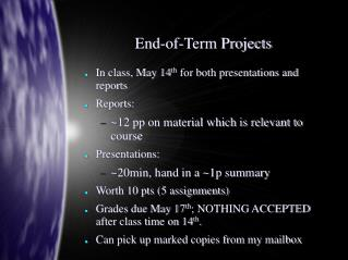 End-of-Term Projects