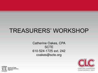 TREASURERS' WORKSHOP
