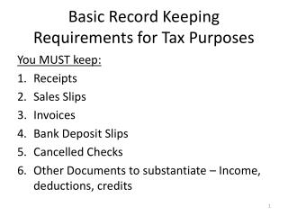 Basic Record Keeping Requirements for Tax Purposes