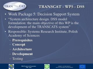 Work Package 5: Decision Support System