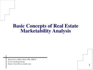 Basic Concepts of Real Estate Marketability Analysis