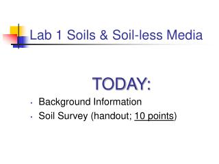 Lab 1 Soils & Soil-less Media