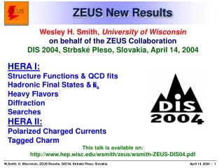 ZEUS New Results