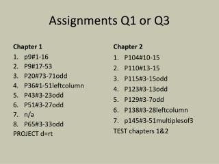 Assignments Q1 or Q3