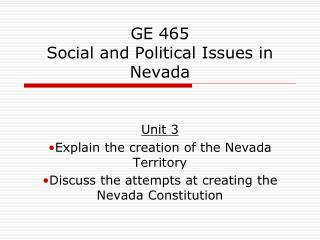 GE 465 Social and Political Issues in Nevada