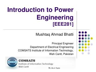Introduction to Power Engineering [EEE281]