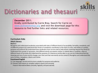Dictionaries and thesauri
