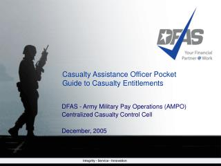 Casualty Assistance Officer Pocket Guide to Casualty Entitlements