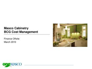 Masco Cabinetry BCG Cost Management