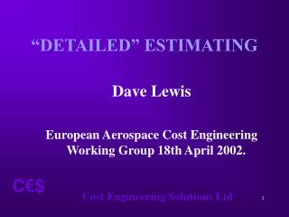 """DETAILED"" ESTIMATING"
