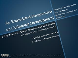 An Embedded Perspective on Collection Development