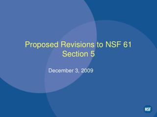 Proposed Revisions to NSF 61 Section 5